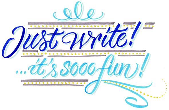 """""""Just write! It's sooo fun!"""" – Handlettering-Workshop<br /> Samstag, 10.04.2021, 10.00 - 17.00 Uhr in Neumarkt/Oberpfalz"""